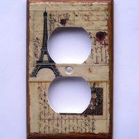 Paris images on a MIXED MEDIA Outlet cover with MATCHING Screws, Paris living room, Paris dining room, Paris designs (ready to ship/ C-p)