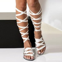 VTOTA Bohemia Style Summer Flats Sandals Gladiator Cross Strap Sexy Knee High Woman Boots Flat Casual Beach Sandals For Women