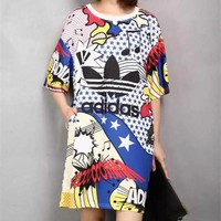 """Adidas"" Sport Casual Multicolor Letter Pattern Print Short Sleeve T-shirt Mini Dress"