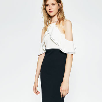 TWO-TONE DRESS WITH FRILL