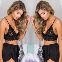 Beach Summer Hot Comfortable Bralette Stylish Lace Spaghetti Strap Hollow Out Bra Sexy Underwear Vest [7680867651]