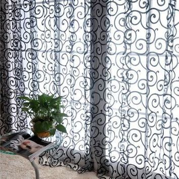 Fashion Floral Tulle Voile Door Window Curtains Drape Panel Sheer Scarf Valances Black [8081666439]
