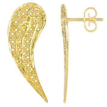 14k Yellow Gold Angel Wings Drop Post Earrings