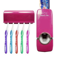 Automatic Auto Toothpaste Dispenser +5 Toothbrush Holder Set Wall Mount wine red = 1946113860