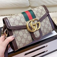 GUCCI New fashion more letter leather chain shoulder bag crossbody bag Khaki