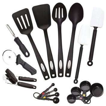 17-Piece Complete Kitchen Tool and Gadget Set w Can Opener and Measuring Cups