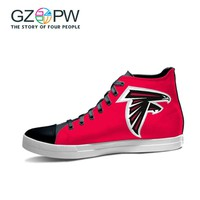 GZPW 2017 Atlanta Falcons Fans Print Canvas Red Shoes Boys high Top Lace Shoes Customs Made Print Shoes Graffiti Casual Shoes
