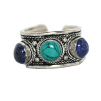 Lapis Turquoise Adjustable ring