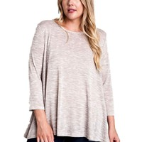 Peppered Knit Top, Taupe