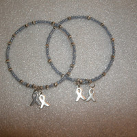 Cancer Ribbon  Periwinkle Bracelets  (2) Stackable awarensess bracelets with silver ribbon charms, memory wire, can custom make