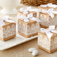 Kraft and Lace Favor Boxes (Set of 24)