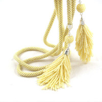 Yellow bead crochet rope necklace -lariat with tassel and beaded beads, seed beads jewellery, beadwork