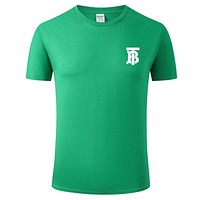 Burberry 2019 new TB letter printing men and women models wild round neck half sleeve T-shirt Green