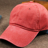 Red Retro Washed Cotton Baseball Cap