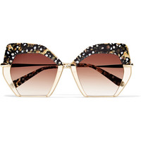 KREWE - Octavia square-frame acetate and gold-plated sunglasses