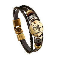 Fashion Bronze Alloy Buckles 12 Zodiac Signs Bracelet Punk Leather Bracelet Wooden Bead + Black Gallstone For Men Charm Jewelry