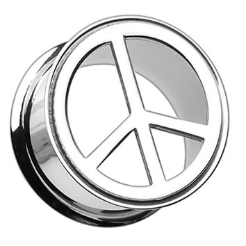 Peace Top Hollow 316L Surgical Steel Double Flared Ear Gauge Plug