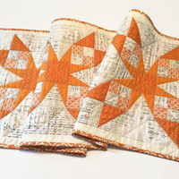 Large Modern Star Table Runner, Cheddar and Text, Wall Hanging
