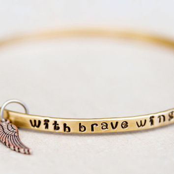 Gift for Her / BlessingBand / Mantra Bangle / With Brave Wings She Flies / Gift for Her / Unique Gift / Positive Jewelry