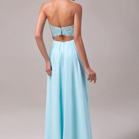Light Blue Strapless Beaded Layer Cutout Back Chiffon Dress