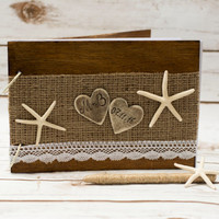 Beach Wedding Guest Book Starfish Rustic Guestbook Pen Personalized Nautical Wooden Guest Book