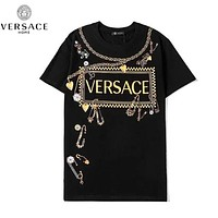 Versace New fashion letter print couple top t-shirt Black