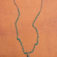 Long Turquoise and Silver Necklace with Feather Pendant