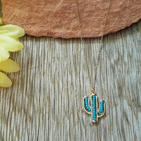 Gold & Turquoise Cactus Beaded Necklace