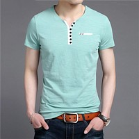 Short Sleeve T Shirt Men Streetwear Fashion Button Henry Collar T-Shirt Man Summer Casual Cotton Tee Shirt Homme