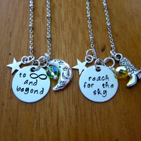 """Disney's """"Toy Story"""" Inspired Friendship Necklaces. Sheriff Woody & Buzz Lightyear """"Reach for the Sky"""", """"To Infinity and Beyond"""". Set of 2."""