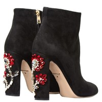 Floral-embellished suede boots | Dolce & Gabbana | MATCHESFASHION.COM US