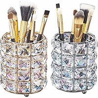 Aila Makeup Brush Holder Organizer Golden Crystal Bling Personalized Gold Comb Brushes Pen Pencil Storage Box Container (Crystal Pot)