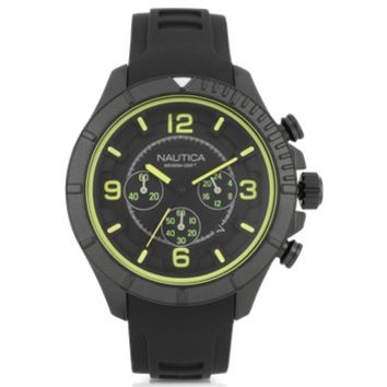 Nautica Designer Men's Watches Black Stainless Steel Case and Rubber Strap Men's Watch