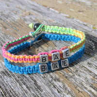 Neon and Turquoise BAE Bracelets for Couples or Best Friends, Handmade Hemp Jewelry, Before Anyone Else