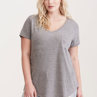 Premium Grey Triblend V-Neck Tee
