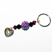 Beaded Keychain with Purple Accents and Silver Heart Charm