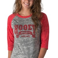 Hooey Women's Big League Grey with Red Logo 3/4 Athletic Sleeves Burnout Tee