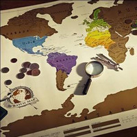 88x52cm Scratch OFF MAP Travel Map World poster Mural recording retro design free shipping
