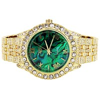 Gold Tone Marble Green Texture Roman Dial Bling Metal Watch