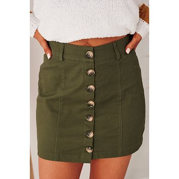 Until You Realize Button Front Mini Skirt (Olive)