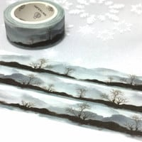 forest Tree washi tape 7M x 1.5cm grey tone mountain hill forest tree Masking tape sticker tree scenes winter theme drawing landscape decor
