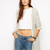 Only Woppy Long Cardigan - Antique white