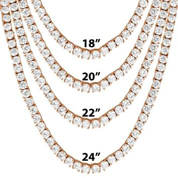 "4mm 14k Rose Gold Finish One Row 18""-24"" Tennis Necklace"
