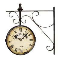 "Black Iron Vintage-Inspired Double-Sided Wall Clock with Scroll Wall Mount ""Gard Du Nord Station"""