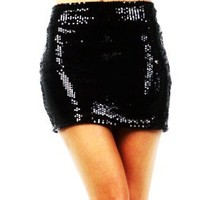 Plus Size Vixen Black Mini Skirt with Small Sequin
