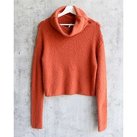 Free People - Stormy Plush Cowl Neck Knitted Pullover Sweater - Terracotta/Tribeca