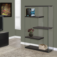 "Cappuccino Hollow-Core/Tempered Glass 60""H Bookcase"
