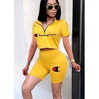 Champion women's letter print sexy casual two-piece suit yellow