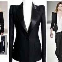 New Womens Celeb Peaked Shoulder Tuxedo Lady Blazer Suit Jacket