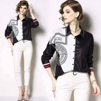 VERSACE Autumn Newest Popular Women Print Long Sleeve Lapel Shirt